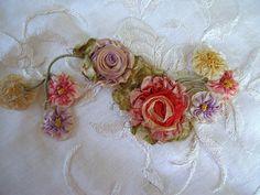"RARE Exquisite Victorian Era French Silk Ribbonwork 5"" Seven Flowers | eBay"