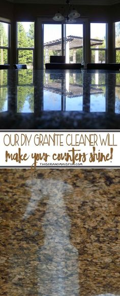 """DIY Granite Cleaner Here is what you need to know about safely cleaning granite, marble and stone surfaces. These surfaces do NOT do well with acidic (citrus-based) cleaners. The vinegar or citrus can cause what looks like """"etching"""" on your granite counter tops. Windex is another no go, it will quickly strip the """"seal"""" off of your granite/stone. You are now left with two options, expensive over the counter products or make your own. This granite cleaner only uses four ingredients, is…"""