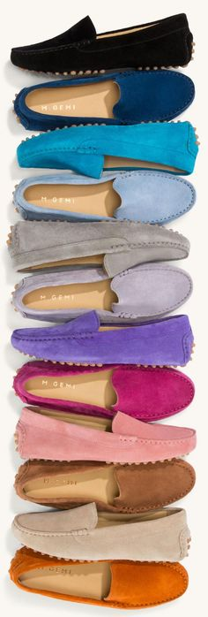 The driving moccasin that sparked an obsession. Now in 17 rich new colors of decadent suede. These are beautiful! by valbell Fashion Mode, Fashion Shoes, Cute Shoes, Me Too Shoes, Vetements Shoes, Zapatillas Casual, Driving Moccasins, Driving Shoes, Mocassins
