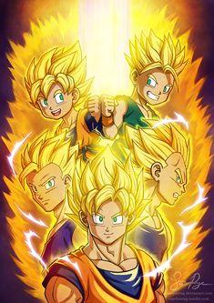 Goku, Vegeta, Trunks, Goten, and Gohan