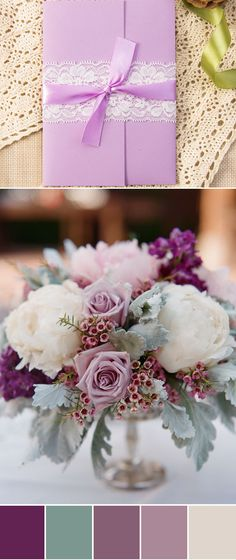 shades of purple wedding color ideas and pocket wedding invitations