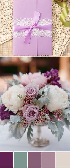 shades of purple wedding color ideas and pocket wedding invitations