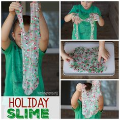 This holiday slime recipe is a fun sensory play activity for children. You only need a few ingredients for this recipe.