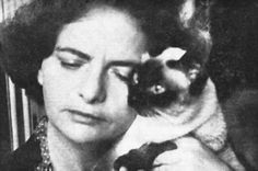 Elsa Morante getting ideas from her kitty.