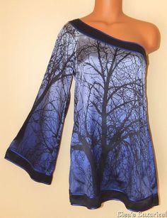 BEBE Women's One-shoulder Silk Top S. Bell Sleeve Tree Design Blue Black #bebe #Tunic #Clubwear