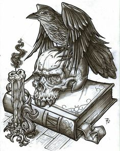 Crow And Skull Tattoo Designs Tattoo Sketches, Tattoo Drawings, Art Drawings, 3d Tattoos, Skull Tattoos, Tribal Tattoos, Skull Tattoo Design, Tattoo Designs, Skull Design