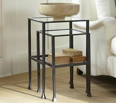 Tanner Nesting Tables #potterybarn - airy, but substantial weight. Can hold it's own in a room.