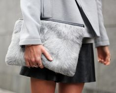 Adorable grey fur clutch!