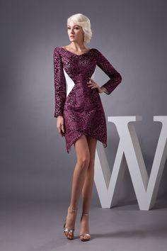Sheath Column V-Neck Natural Waist Short Length Zipper Long Sleeve Dress $132.00 (China)
