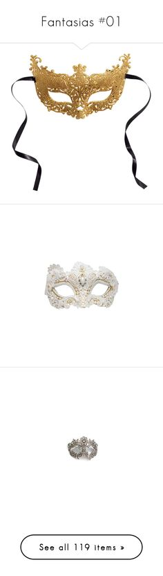"""""""Fantasias #01"""" by julia-nobrecastro ❤ liked on Polyvore featuring costumes, masks, accessories, other, acessorio, costume, gold, masquerade costumes, h&m and masquerade halloween costumes"""