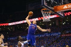 Blake Griffin of the Los Angeles Clippers makes a slam dunk against Reggie Jackson #15 of the Oklahoma City Thunder in Game One of the Western Conference Semifinals during the 2014 NBA Playoffs at Chesapeake Energy Arena on May 5, 2014 in Oklahoma City, Oklahoma. (Photo by Ronald Martinez/Getty Images)