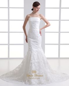 lindadress.com Offers High Quality Ivory Mermaid Strapless Lace Wedding Dress With Bow In The Back,Priced At Only USD USD $198.00 (Free Shipping)