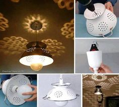 diy colander lamp tutorial