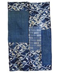 "A Superb Boro Shibori Mat: Narumi Kongata Patch  $425.00 USD  ca. late nineteenth, early twentieth century  38"" x 24"", 96.5 cm x 61 cm    This mat of indigo dyed shibori and katazome cottons is something of a masterwork of random, haphazard and, perhaps unintentional, beauty."