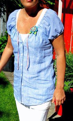 ...ein Männerhemd. Umgebaut zur Imke. ...ich versuch mal zu erklären wie ich's gemacht habe: Einfach den Imke-Schnitt auf dem Hemd plazier...