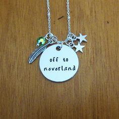 """Peter Pan Inspired Necklace. """"Off to neverland"""". Swarovski elements crystals. Hand Stamped. WithLoveFromOC. Peter Pan gift. Never land. by WithLoveFromOC (item: 2016327032)"""
