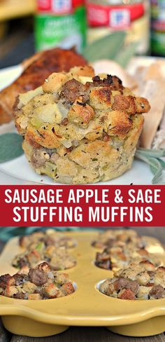 """This classic stuffing recipe holds its own at the holiday table in the convenient form of a muffin. Loaded with all the traditional stuffing flavors – sage, apple and sweet sausage – they're a close contender for """"favorite Thanksgiving side."""" Pop the muff Classic Stuffing Recipe, Stuffing Recipes, Stuffing Muffins, Sausage Stuffing, Sausage Sage Stuffing, Thanksgiving Side Dishes, Thanksgiving Recipes, Fall Recipes, Holiday Recipes"""