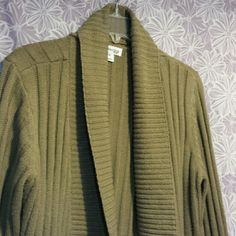 Comfortable open cardigan Med brown, med weight, open cardigan. Has a pocket on each side and cuffed long sleeves. Only worn handful of times. St. John's Bay Sweaters Cardigans