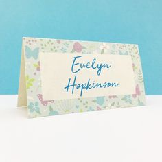 Merry Meadow Flowers place card with a pretty flower design. These place name cards are printed on high quality card using splash proof pigment ink. Wedding Table, Wedding Day, Pressed Leaves, Meadow Flowers, Place Names, Place Card, Name Cards, Colour Schemes, Pretty Flowers