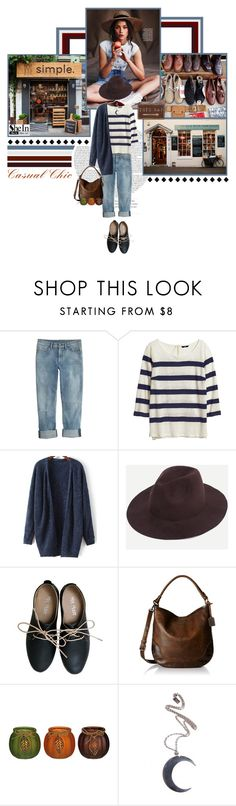 """SHEIN- Coffee Stylish Fedora Hat"" by zulaltprk ❤ liked on Polyvore featuring J.Crew, H&M, Miz Mooz, Frye and Disturbia"