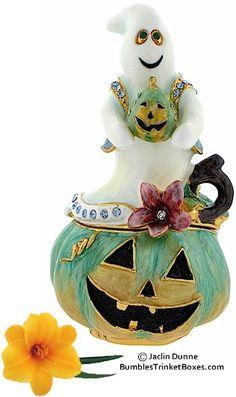 Trinket Box: Halloween Ghost and Pumpkin