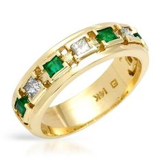 FORELI 1.00 CTW Emerald 14K Gold Men's Ring