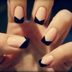 French manicure with a black, geometrical tip