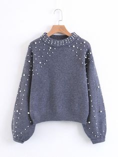 To find out about the Faux Pearl Embellished Lantern Sleeve Sweater at SHEIN, part of our latest Sweaters ready to shop online today! Warm Outfits, Sweater Outfits, Sweater Hoodie, Casual Outfits, Cute Outfits, Fashion Outfits, Gray Sweater, Knit Fashion, Grey Fashion