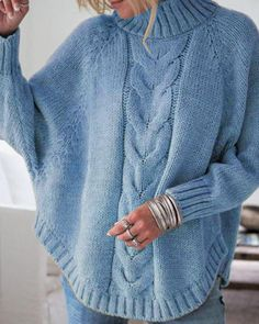 Shopping Round Neck Asymmetric Hem Plain Sweaters online with high-quality and best prices Sweaters at Luvyle. Casual Sweaters, Winter Sweaters, Blue Sweaters, Ladies Sweaters, Pull Gris, Knitted Poncho, Cardigans For Women, Pulls, Pattern Fashion