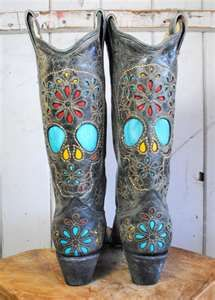 cowboy boots with skulls on them | Star Boots Womens Hand Tooled ...