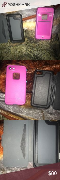 2 iPhone cases The pink one is a life proof one and the black on is the wallet kind OtterBox Accessories Phone Cases