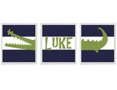 Alligator Nursery Wall Art Print Set (3) 8x10 - Navy Blue Stripes Preppy Madras Gator - Name Children Kid Baby Boy Room - Home Decor on Etsy, $42.00