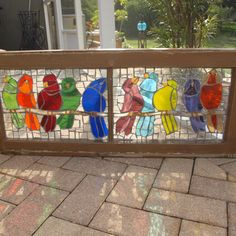 "Stained Glass Mosaic Window Birds Vintage Repurpose  Wooden ""The Chit Chat Club"""
