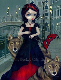 Jasmine Becket Griffith Art Print Signed Wolves of Venice Vampire Werewolf Mask | eBay