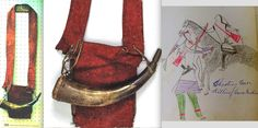 Rare red cloth shooting bag, Vienna, as seen in many ledger drawings.  ac