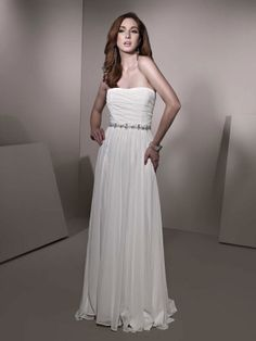 A-line floor-length chiffon bridal gown with beading embellishment