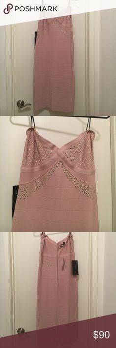 Pink strap or strapless dress NWT pink form fitting strapless dress from Bebe. bebe Dresses Strapless