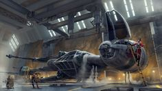 Landed in an underground hangar, a Miralukan B-wing pilot is taking the structural integrity of her ship rather lightly. The same can't be said for the Dug who has to fix it all up. Commissioned by...