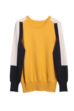 Autumn & Winter New Section Contrast Color Long Sleeve Ladies Knitted Sweater