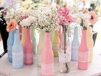 garrafas coloridas para decoração de casamento simples