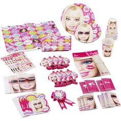 Barbie Birthday Party Supplies Pack for 8. Barbie Birthday Party Supplies Pack for 8: Features Barbie and friends Includes: 8 nine oz cups 8 Blowouts 8 Dinner plates 8 Desert plates 8 Note pads 1 Guest of honor ribbon 8 Invitations 8 Lunch napkins 8 Party gift bags 4 sheets of stickers 1 Table cover 8 Thank you notes. Price: $26.54