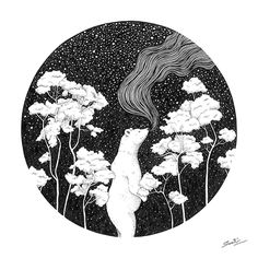 """""""The Winter"""" black and white pen illustration by Smriti Choudhary. This illustration is from her book """"In The Forest"""". Artprints and the book both available on www.airphish.com #art #print #illustration #polarbear #stars #winter"""