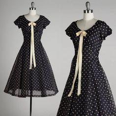 vintage 1950s dress . navy blue chiffon . by millstreetvintage, $175.00