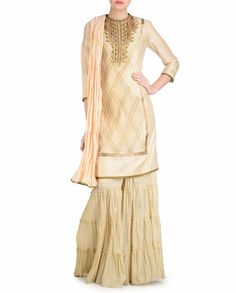 MANDIRA WIRK.  Butter cream Yellow Palazzo Suit with Gota Work