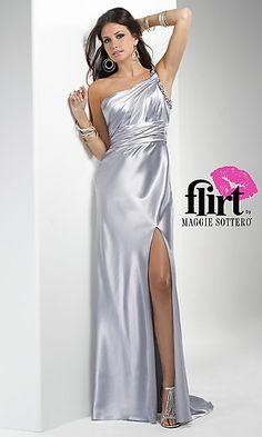 b7e8b3d6ac1e Floor length one shoulder dress with side slit. Open Back Prom Dresses