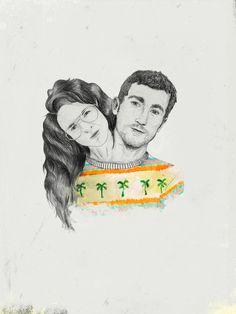 Marc Pallarès, illustration, my illustration, il·lustració, ilustración, estampado, estampat, Marc Pallarès illustration, pattern, jersey palm, palm tree, couple, siamese, hair