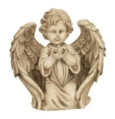 Anděl klečící v křídlech 26,5 cm držící ptáčka rukama