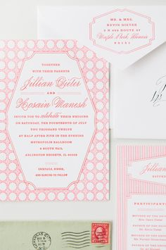 Custom pink invite suite. Mae Mae Paperie