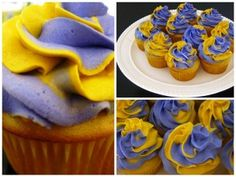 I tried this method to pipe a two colored swirl on cupcakes and it works SO easily! (As long as you don't put too much frosting in the bag so it squirts out the top when you squeeze!) Mine were even purple and yellow just like this tutorial...GO HUSKIES!