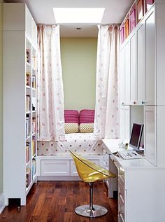 If I could re-do my old bedroom I'd want it to look like this. Great idea for a small room.
